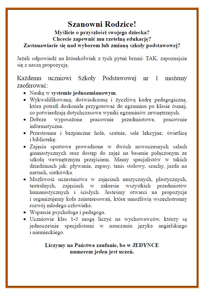 oferta SP1 w Łomży
